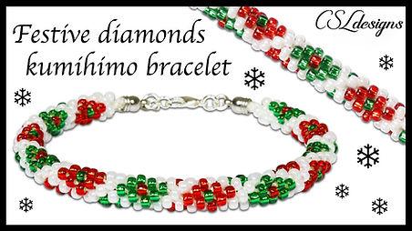 Festive diamonds beaded kumihimo bracele