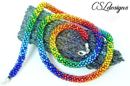 Multiple rainbows beaded kumihimo neckla