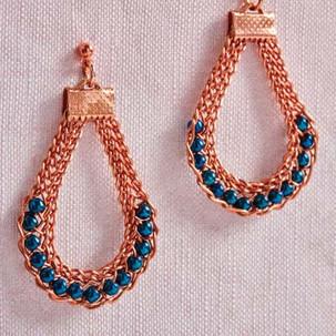 Kumihimo wirework snaky earrings