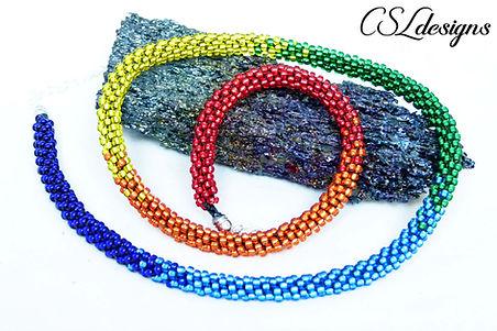 Rainbow beaded kumihimo necklace thumbna