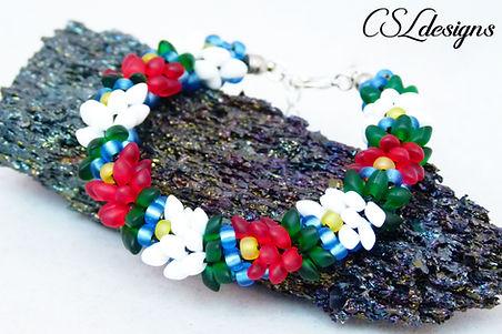 Water lilly beaded kumihimo bracelet thu