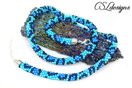 Leopard print beaded kumihimo necklace t