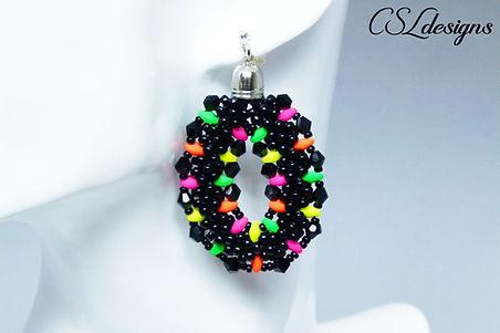 Beaded kumihimo earrings with SuperDuos