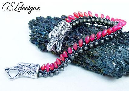 Dragon beaded kumihimo bracelet thumbnai