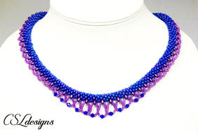 Laced beaded kumihimo necklace