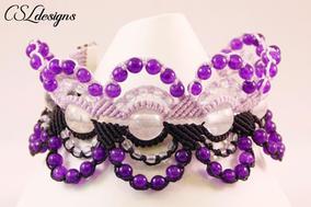 Micro macrame circles bracelet purple fr