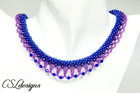 Laced beaded kumihimo necklace thumbnail