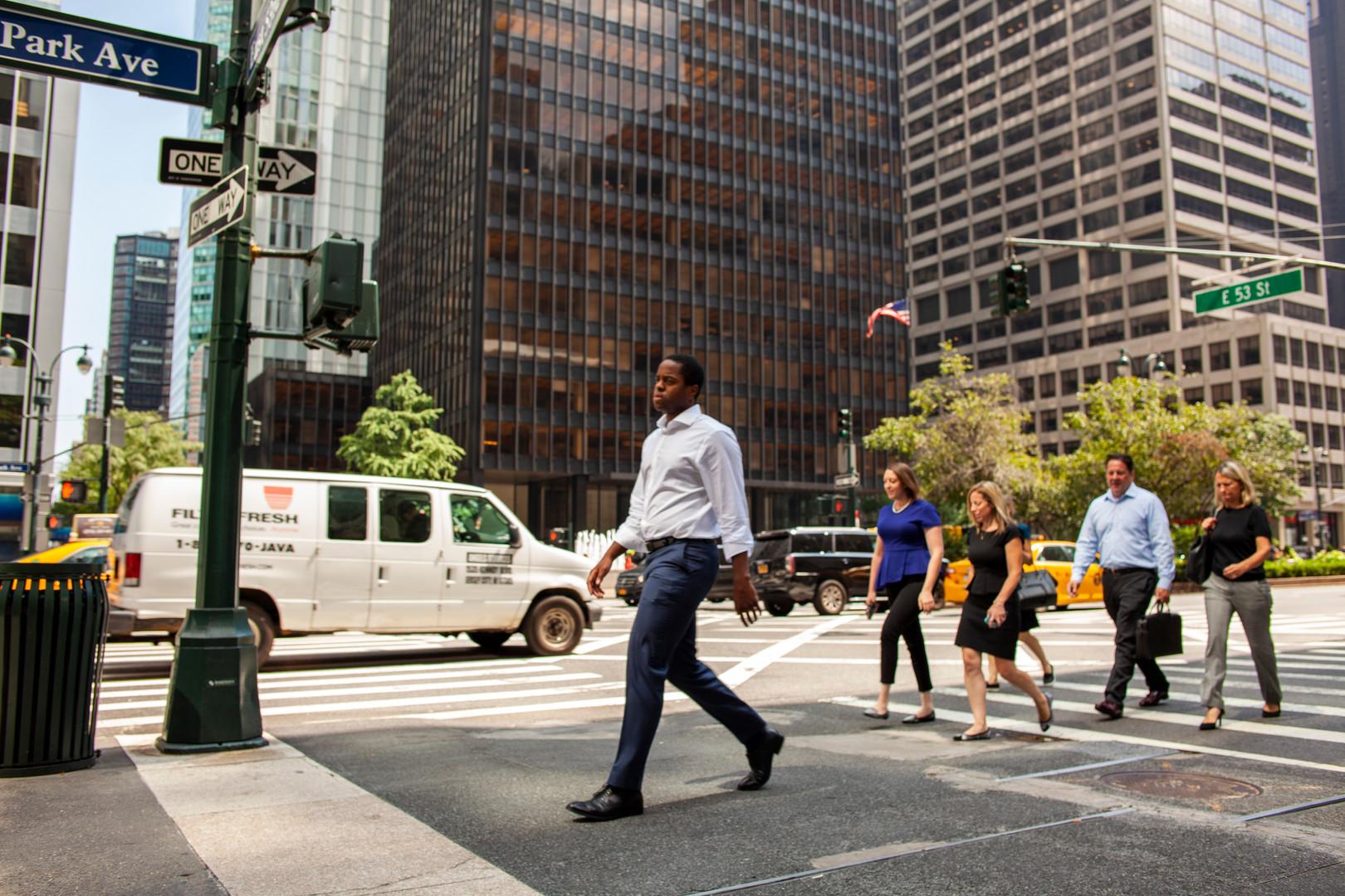 Man Walking on Park Avenue