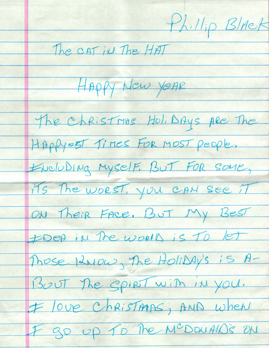 New Years Note from Homeless Man