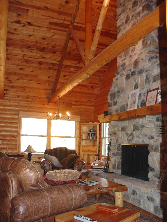 Full Height Stone Fireplace