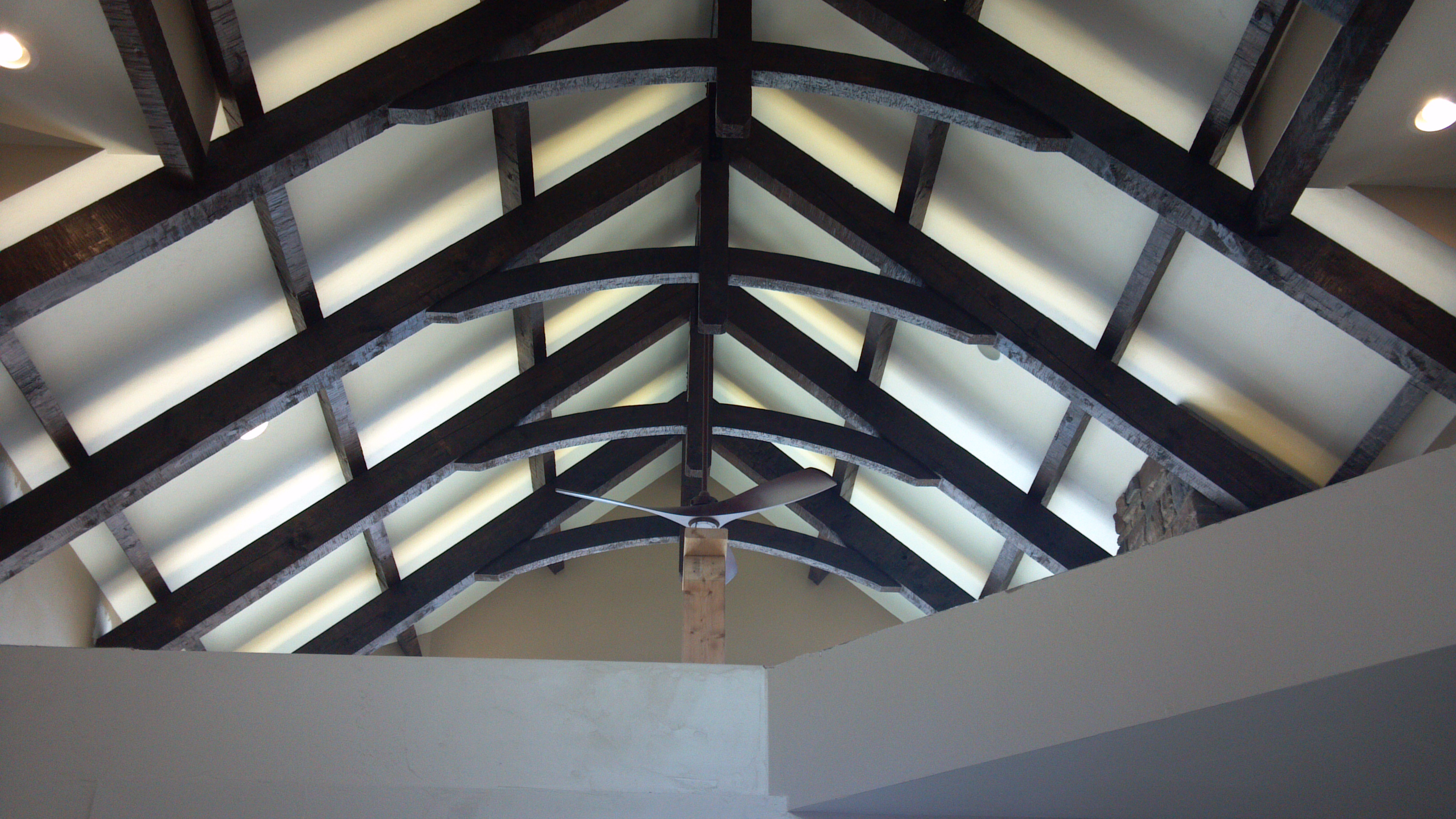 LIghted Rustic Trusses