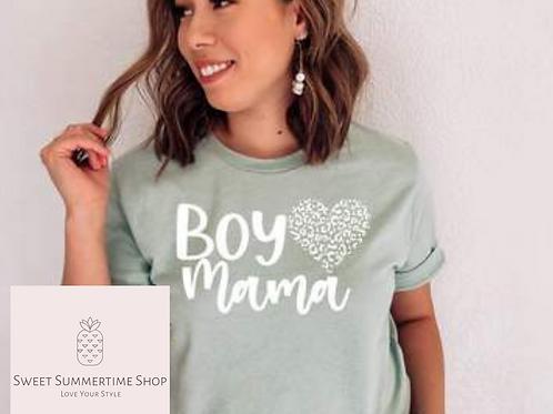 Boy Mama with Leopard Heart Shirt