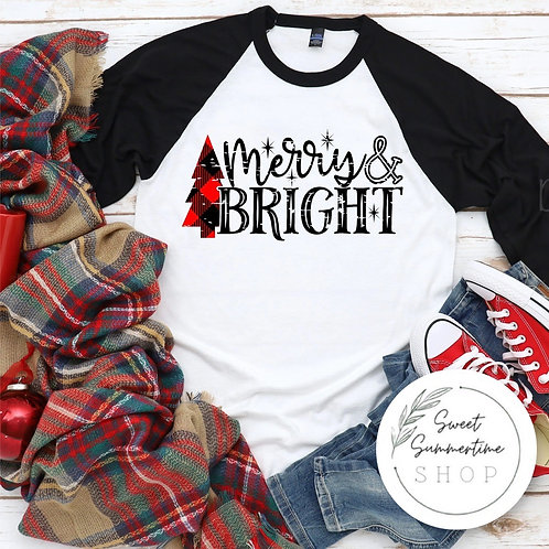 Merry and bright tee shirt