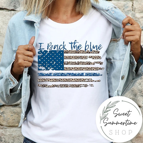 Back the blue leopard shirt