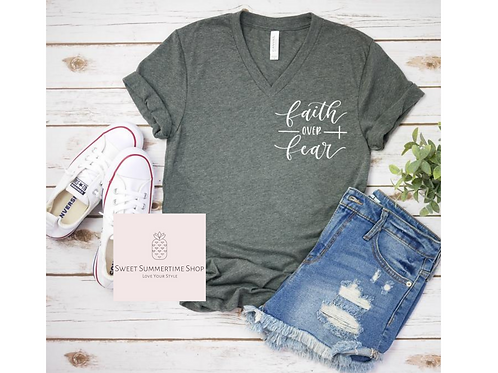 Faith over Fear Cross Shirt - small patch