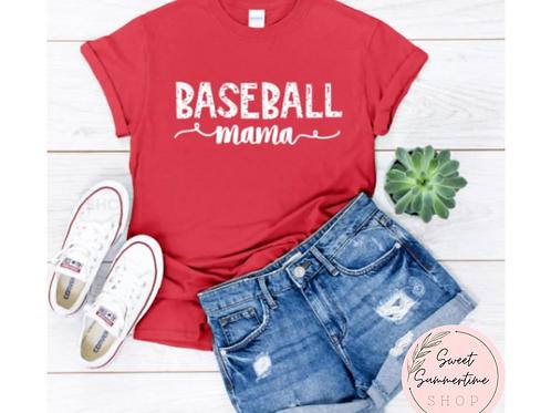 Baseball Mama Distressed Text Shirt