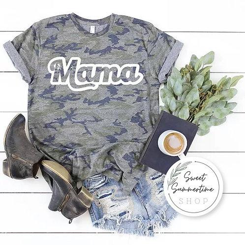 Mama Camo shirt - retro font