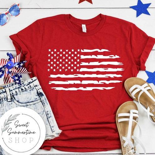 Distressed American flag tee
