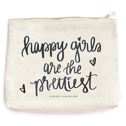 Happy Girls are the Prettiest Makeup and Accessory Bag
