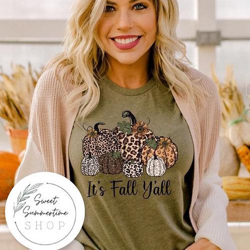 It's fall leopard pumpkin tee shirt