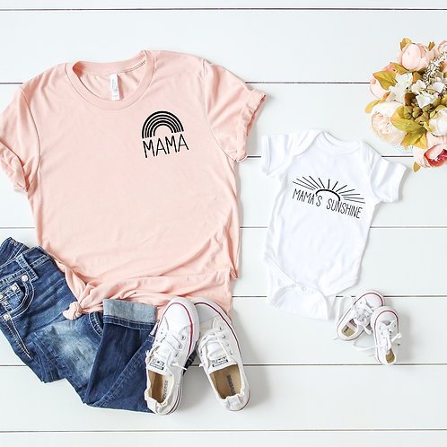 Mama and Mama's Sunshine - Matching Mom and Baby set - Mom t shirt an