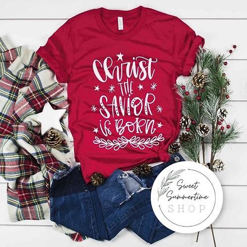 Christ the savior is born Christmas tee shirt