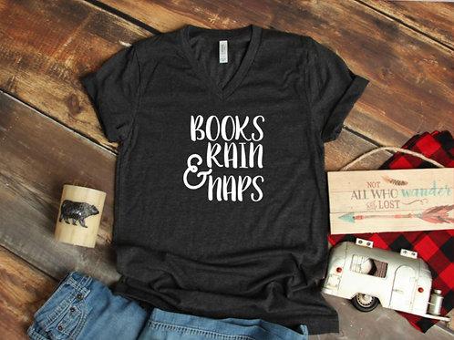 Books rain and naps Women's T Shirt