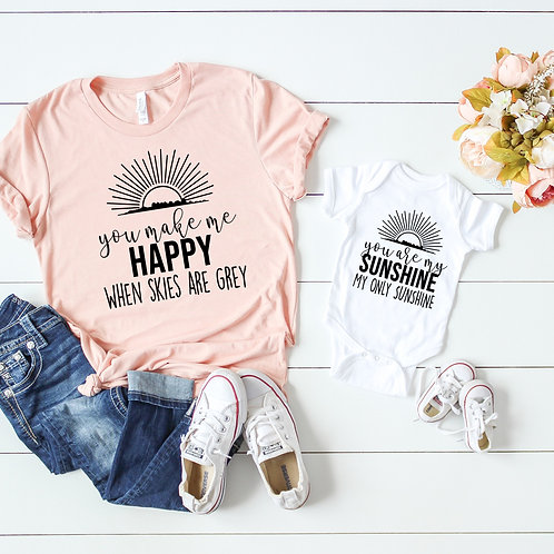 You Are My Sunshine - Matching Mom and Baby set - Mom t shirt an