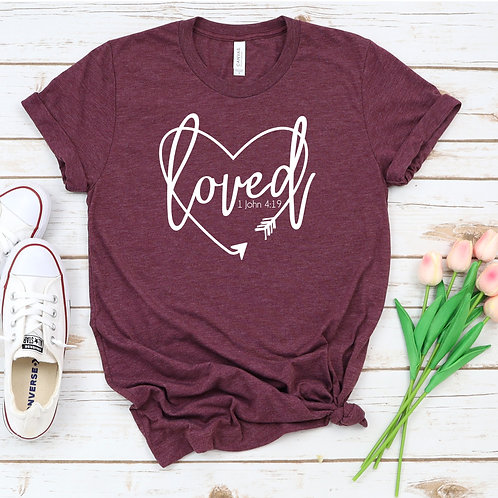 Loved - Bible Verse - Christian womens T Shirt
