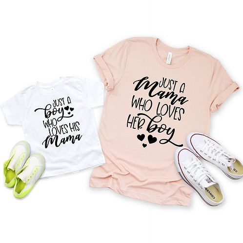 Mama Loves her Boy-  Mommy and me set - Mother's Day