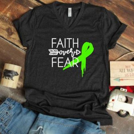 Faith Over Fear Cancer or Chronic Illness Ribbon women's T Shirt