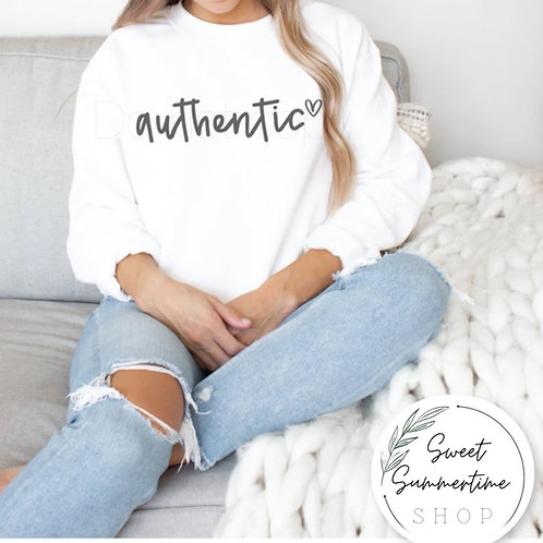 Authentic shirt or sweatshirt - grey text