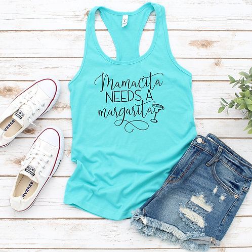 Mamacita needs a Margarita Womens Racerback Tank Top- with graphic