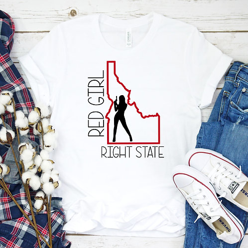 Red Girl Right State Idaho women's T Shirt