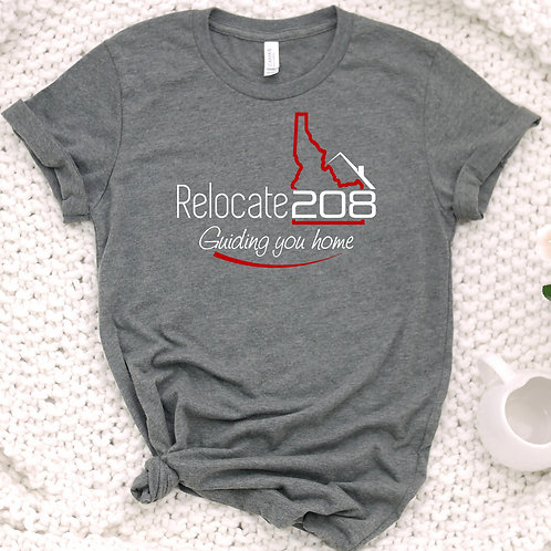 Relocate 208 Guiding You Home Unisex T Shirt - Full logo Across the Front