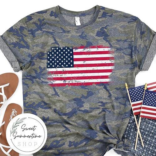Camo American Flag Shirt