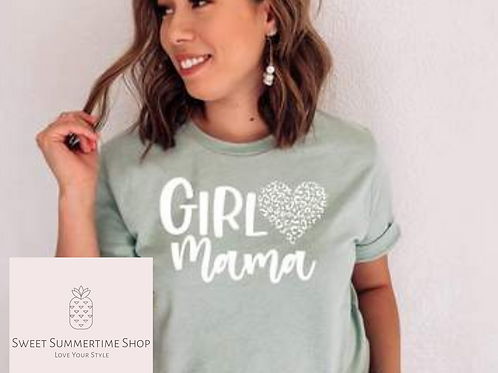 Girl Mama with Leopard Heart Shirt