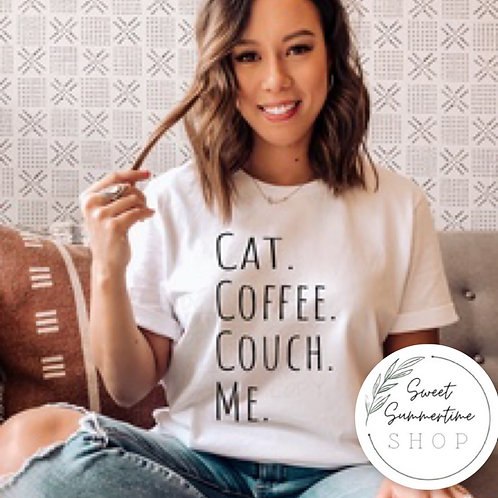 Cat coffee couch tee shirt