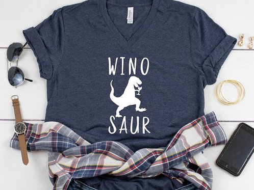 Wino Saur - Wine - Dinosaur - Boy mom womens T Shirt