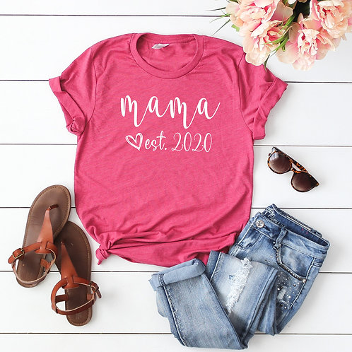 Mama Established 2020 - Pregnant mama Womens T shirt