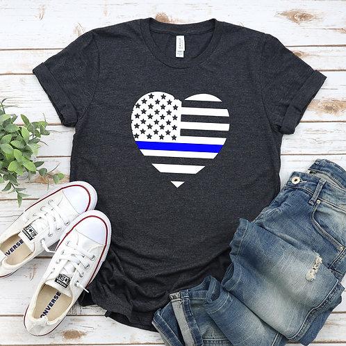 Thin Blue Line Heart- Unisex  T Shirt