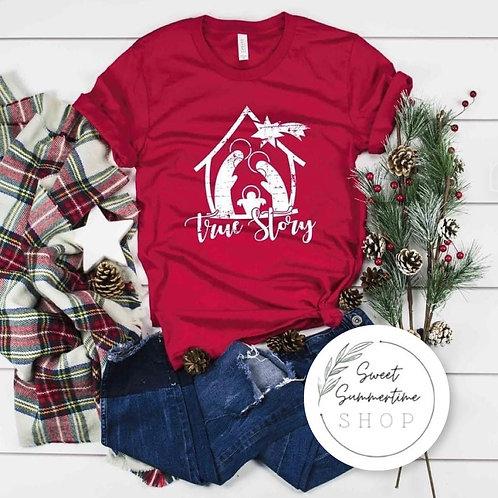 True story nativity Christmas tee shirt