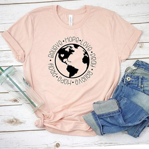 Pray for the World-  womens t shirt