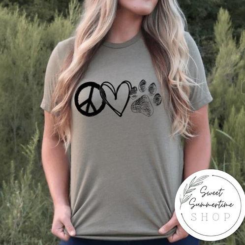 Peace love paw print tee shirt