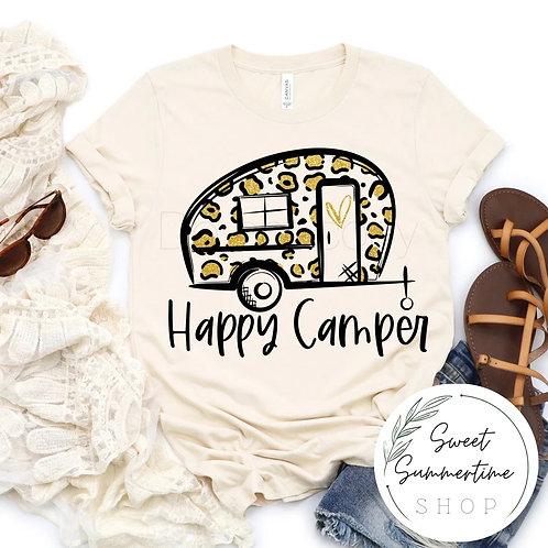 Happy Camper Shirt- leopard print