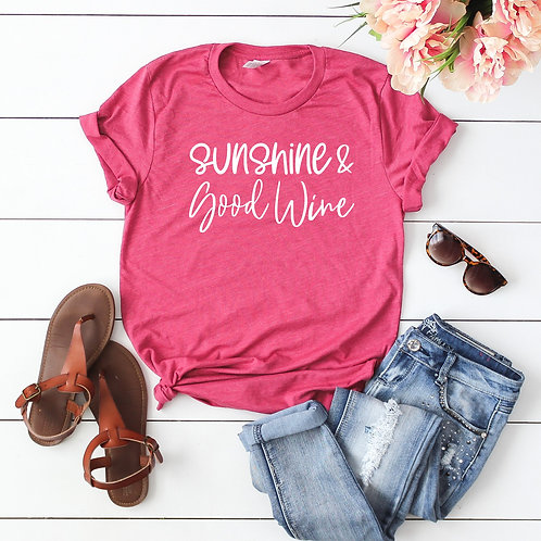 Sunshine and Good wine T shirt - Racerback - Muscle Tank