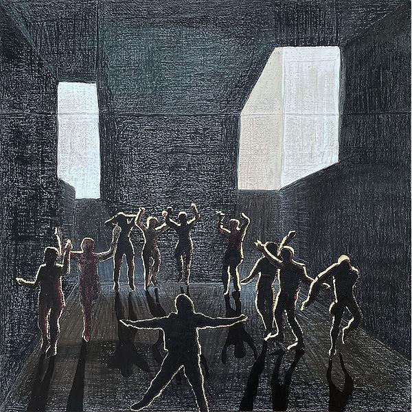 Hamish Pringle 'Dancers' mixed media 100