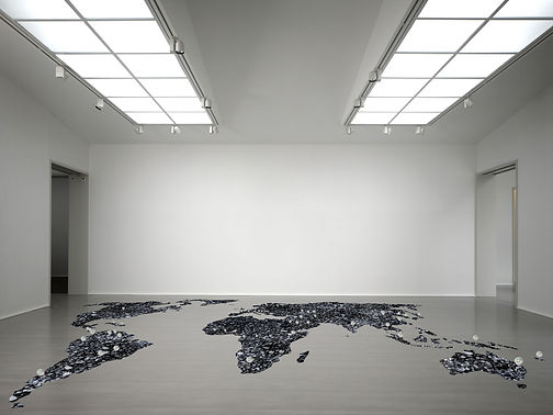 Coal world map in gallery space with the