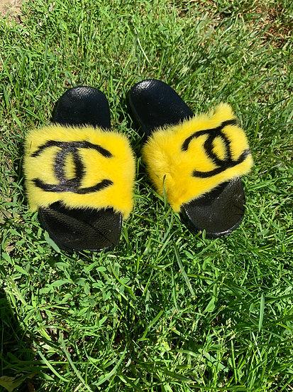 Yellow CC Mink Slides