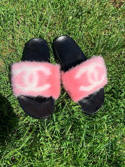 Baby Pink CC Mink Slides